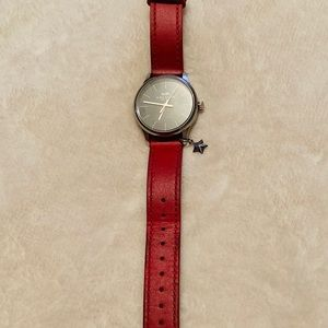 Coach Red Leather Analog Watch